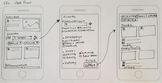 hand drawn wireframes of smartphone UI