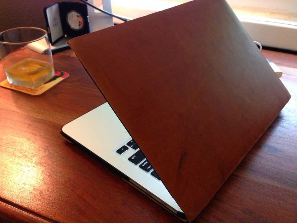 Custom leather laptop skin