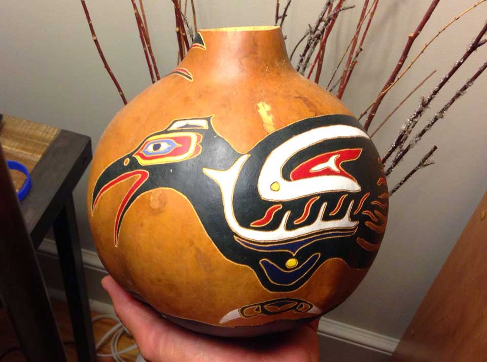 Painted and engraved gourd art